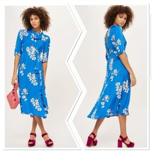 Topshop Blue Floral Jacquard Midi Dress